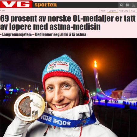 VG: 69% олимпийских медалей для Норвегии выиграли астматики
