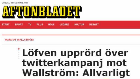 Премьер-министр Швеции Стефан Лёвенрасстроен после Twitter-кампания против Вальстрём.