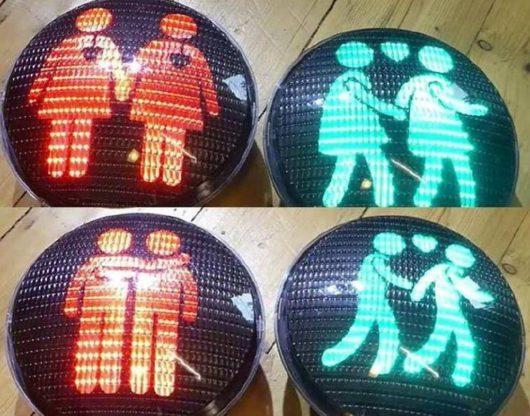 На время проведения парада «гордости» в Стокгольме были установлены 48 светофоров для «однополых»