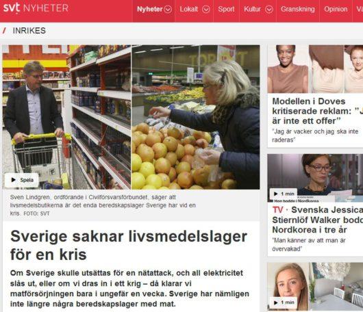 В Швеции нет продовольственных запасов на случай кризиса/Sverige saknar livsmedelslager för en kris