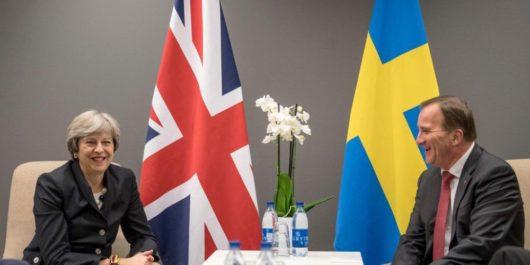 Премьер-министр Великобритании Тереза Мэй и премьер-министр Швеции Стефан Лёвен