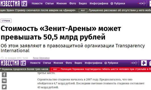 Газпромовские «Известия» ссылаются на антироссийское агентство Transparency International