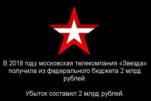 В 2018 году московская телекомпания «Звезда» получила из федерального бюджета 2 млрд рублей. Убыток составил 2 млрд рублей.