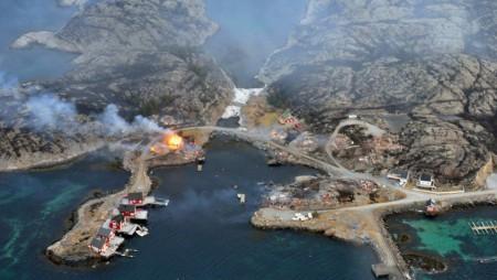 В норвежской коммуне Флатангер произошёл пожар