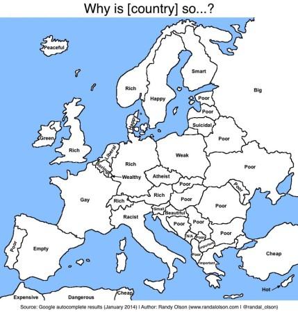 Пользователи Google о странах Европы