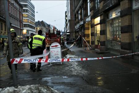 В центре Осло на женщину упал кусок льда