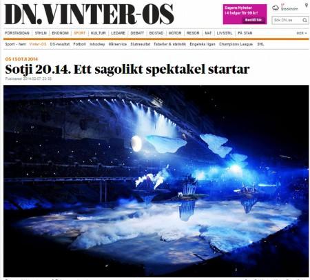Dagens Nyheter об открытии Олимпиады в Сочи