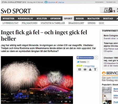 Svenska Dagbladet об открытии Олимпиады в Сочи