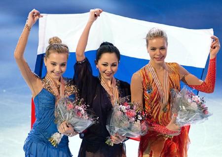 Российские фигуристки Е. Радионова, Е. Туктамышева, А. Погорилая заняли весь подиум чемпионат Европы.