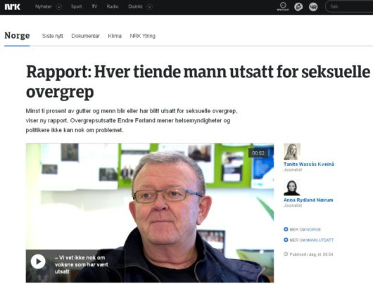 NRK: Каждый десятый мужчина в Норвегии был изнасилован
