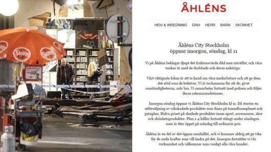 После теракта шведский магазин Åhléns решил устроить распродажу
