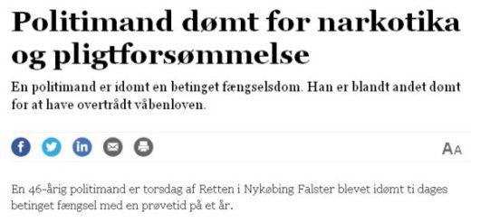 En 46-årig politimand er torsdag af Retten i Nykøbing Falster blevet idømt ti dages betinget fængsel med en prøvetid på et år