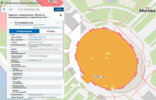 Кадастровая стоимость стадиона «Лужники»