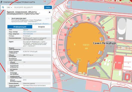 Кадастровая стоимость стадиона «Санкт-Петербург»