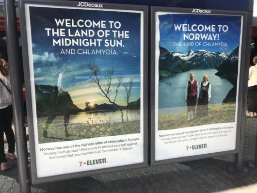 Welcome to the land of the midnight sun. And chlamydia. The land of chlamydia. «Добро пожаловать в страну полуночного солнца и хламидии», «Добро пожаловать в Норвегию, страну хламидий!»