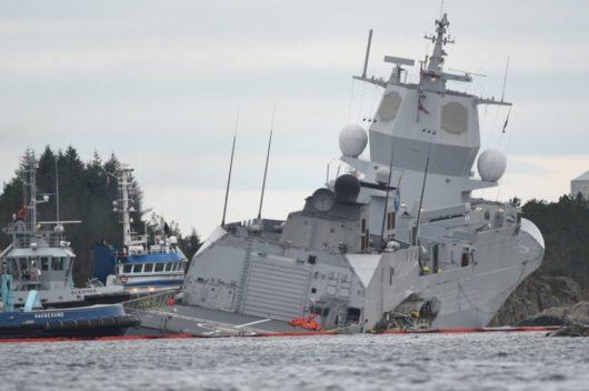 Утонувший норвежский фрегат сняли на видео