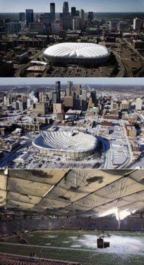 В США крыша стадиона «Хьюберт Эйч Хамфри Метродоум» разрушалась в 1981, 1982, 1983, 2010 годах.
