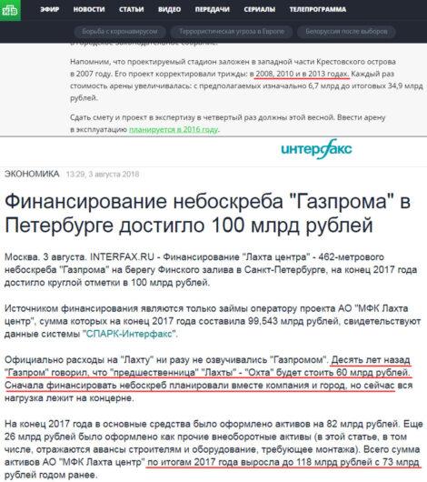 Газпромовское НТВ: Инфляция? Нет, не слышали! Почему «Газпром» обижен на Санкт-Петербург?  ntv.ru/novosti/890838 interfax.ru/business/623765