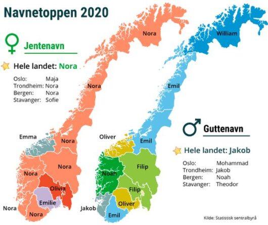 Популярные имена в Норвегии в 2020 году